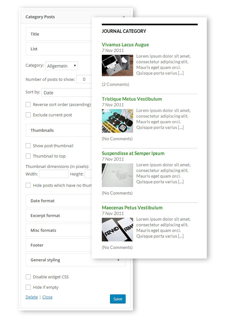 Terms and Category Based Posts Widget
