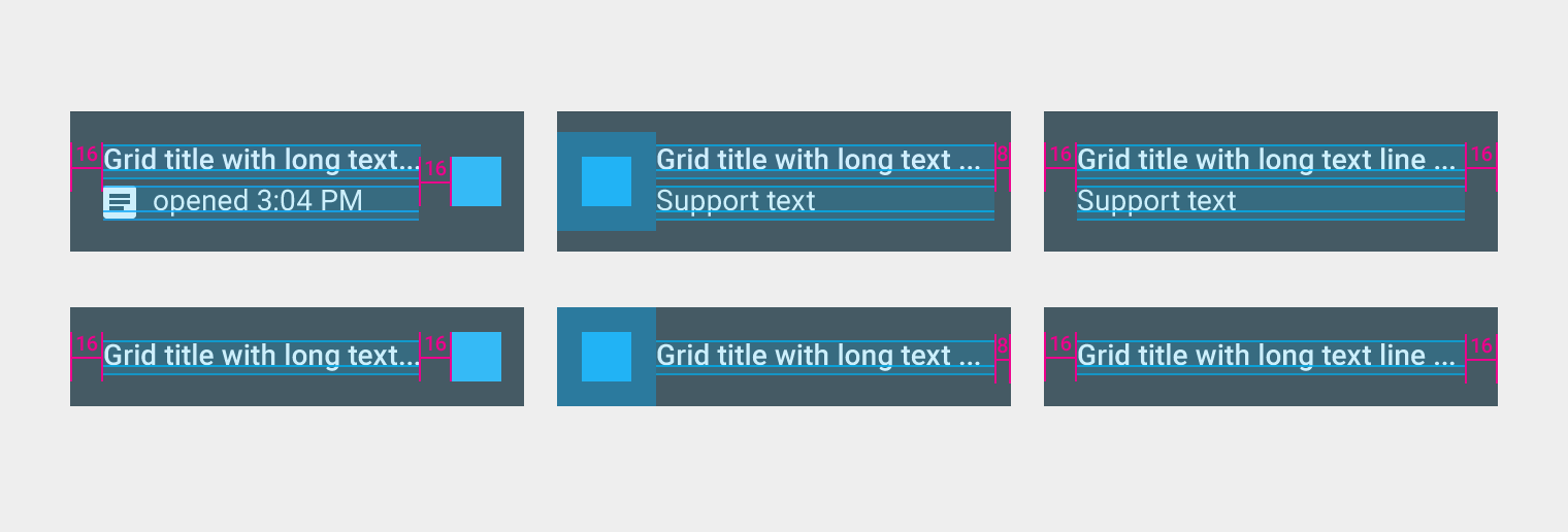 "Material Design""grid lists"" have own spaces, font-sizes and other styles"