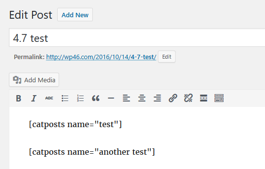 Edit Post ‹ test 4.6 — WordPress(1)