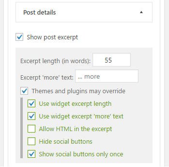 Term Posts Excerpt Extension. Additional options
