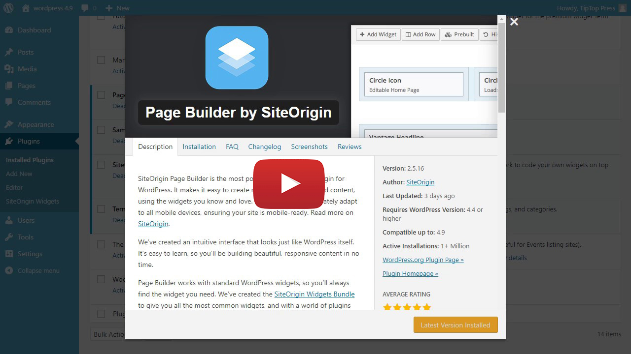 How the widgets work with SiteOrigin Page Builder