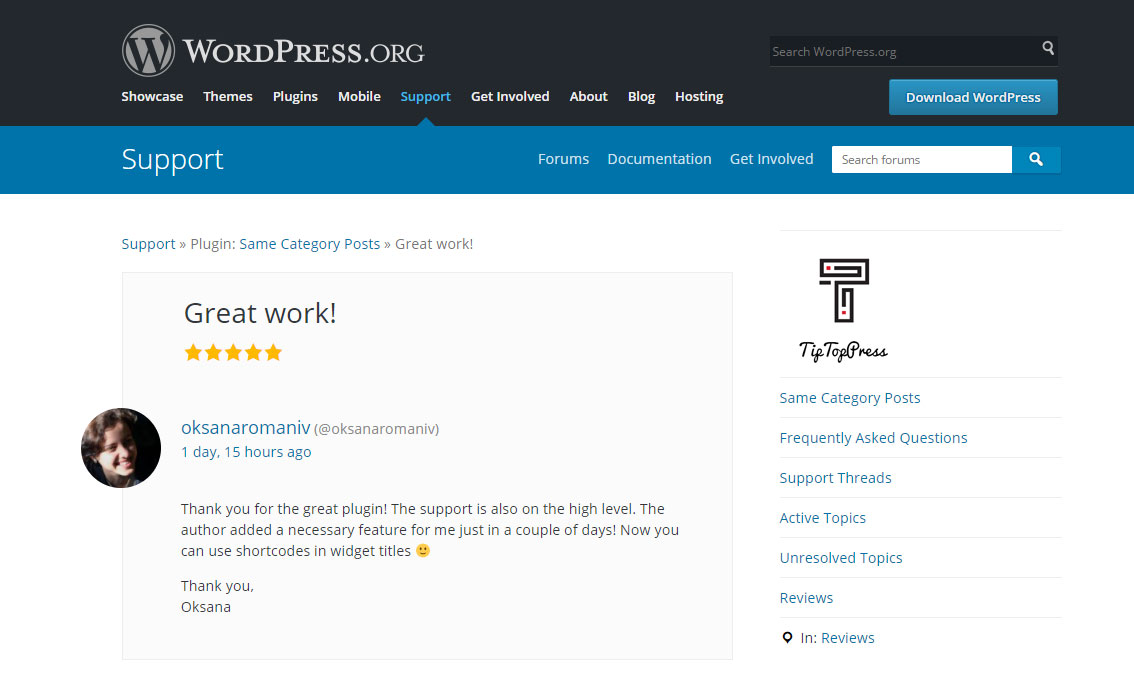 We are looking forward if you write us on WordPress.org
