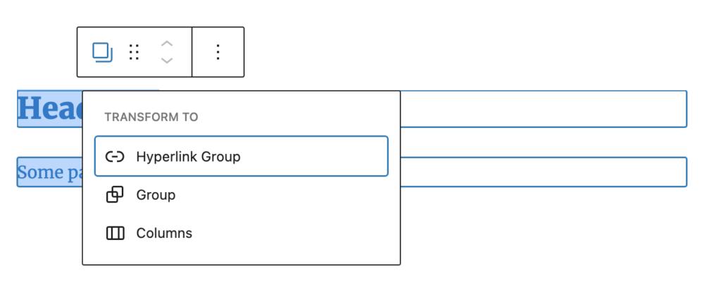 Gutenberg Blocks transform to hyperlink groups